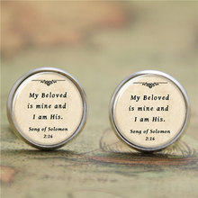 Buy 10pairs/lot Bible earrings, beloved mine am print Photo Christian earrings for $9.87 in AliExpress store