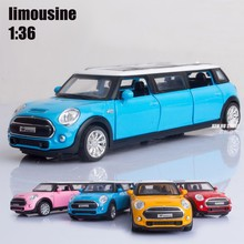 1:32 kids toys extended limousine Mini Auto metal toy cars model pull back car miniatures gifts for boys children