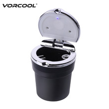 VORCOOL Portable Auto Car Ashtray Smokeless Stand Cylinder Cup Holder Car Cigarette Ashtray with Blue LED Light(China)