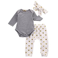 Baby Rompers Set Autumn Winter Baby boy clothes Long Sleeve Grey Tops+Heart Print Pants+Hat 3pcs Kids Baby girl clothes(China)