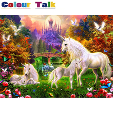 DIY Oil Painting By Numbers on Canvas Pictures for Kids Room Unframed Canvas Painting Hand Painted Acrylic Animal Horse P-5081(China)