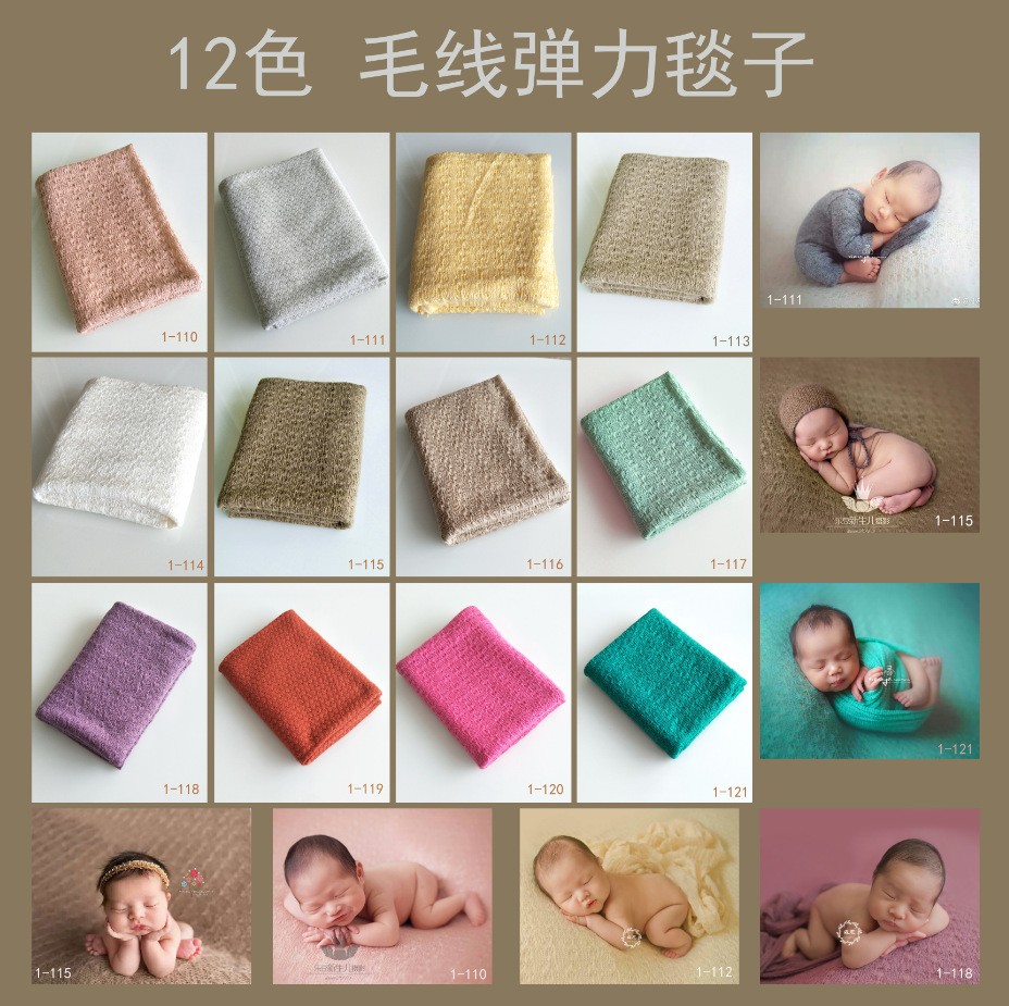 Fashion Newborn Baby Photography Props Floral Wrap Blanket Decorative Baby Shooting Flower Mat Retro Infant Photo Accessories 5