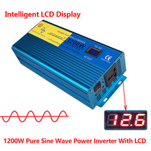 Digital Display PURE SINE WAVE POWER INVERTER 1200W/2400W MAX DC 12V To AC 220V CAMPING BOAT SINEWAVE