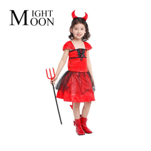 MOONIGHT Red Devil Outfits Devil Costume for Girls Halloween Costume for Kids Childrens Fancy Dress(China)