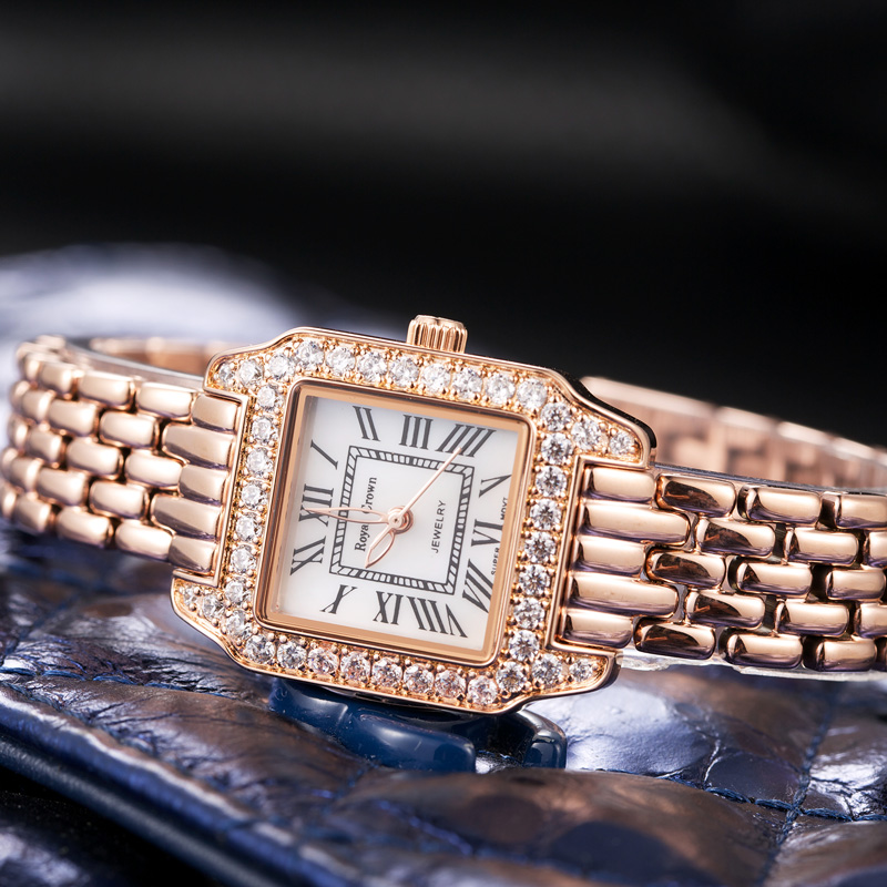 Luxury Jewelry Lady Womens Watch Fine Fashion Square Hours Mother-of-pearl Bracelet Rhinestone Girls Gift Royal Crown Box<br>