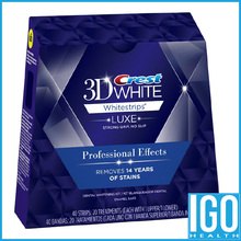 Crest 3d white teeth Whitestrips Luxe Professional effect 1 box 20 Pouches Original Oral Hygiene Teeth Whitening strips(Hong Kong)