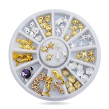 Shell Starfish Sea Design Gold Silver Alloy 3d Nail Art Rhinestone Decoration Wheel Charm Studs Spike Jewelry Manicure Tools