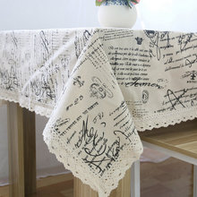 High Quality linen & cotton rectangular tablecloth dust proof letter pattern lace table cloth home party hotel supply