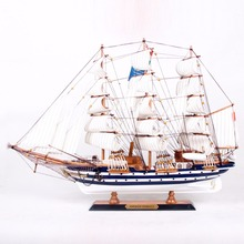 65cm length World famous Sailing boat model gift box classical antique wood yacht ornament artificial sailboat craft office Deco