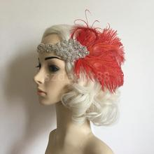 Vintage Women Fancy Dress Fascinator Red Feather 1920s Headpiece Flapper Hairband Gatsby Headband 1920s