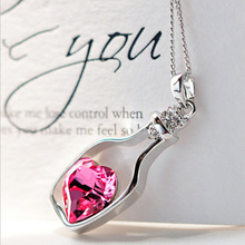 Creative Women Fashion Necklace Ladies Popular Style Love Drift Bottles Pendant Necklace rose Heart Crystal Pendant Neckl