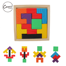 Kids Colorful Wooden Puzzle Toy Tetris Game Educational Toys Children Mental Development Jigsaw Board Baby Boy Girl Tangram Gift(China)