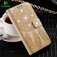 FLOVEME For Samsung Galaxy S6 Edge Plus S7 Edge Phone Case For Samsung S8 Plus Campanula Diamond Case Card Slot Wallet Cover