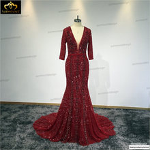 Robe De Soiree Evening Party Dress Real Photos Red Wine Color Tulle Crystal Party Occasion Formal Long Evening Dress(China)