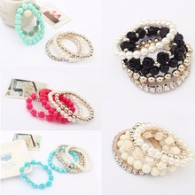 1 PCS Mix Flower Beads Stretch Bracelet Temperament Alloy Resin Rhinestone Bangle Charm