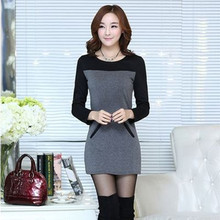 2017 Autumn Winter Plus Velvet Big Yards Female Outer Wear Long-sleeved T-shirt  Female Thick Warm Sweater Dress  Hot Sale BL144