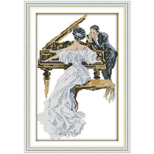 Woman Play the Piano Counted Cross Stitch DIY 11CT 14CT Cross Stitch Set Chinese Cross-stitch Kits Embroidery Needlework(China)