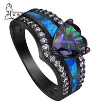 Black Plated Rainbow Blue Green Purple Stone Blue Opal Heart Rings for Women Wholesale Fashion Jewelry Cocktail Ring Gift BR090(China)