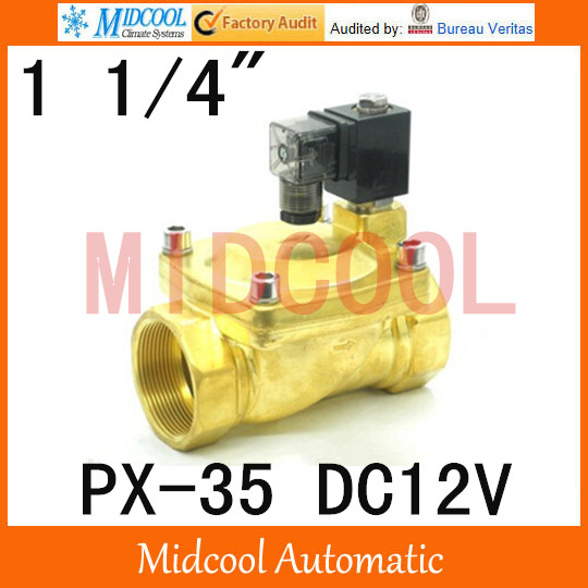 Free shipping DC12V  diaphragm brass water electromagnetic valve PX-35 port 1 1/4<br><br>Aliexpress