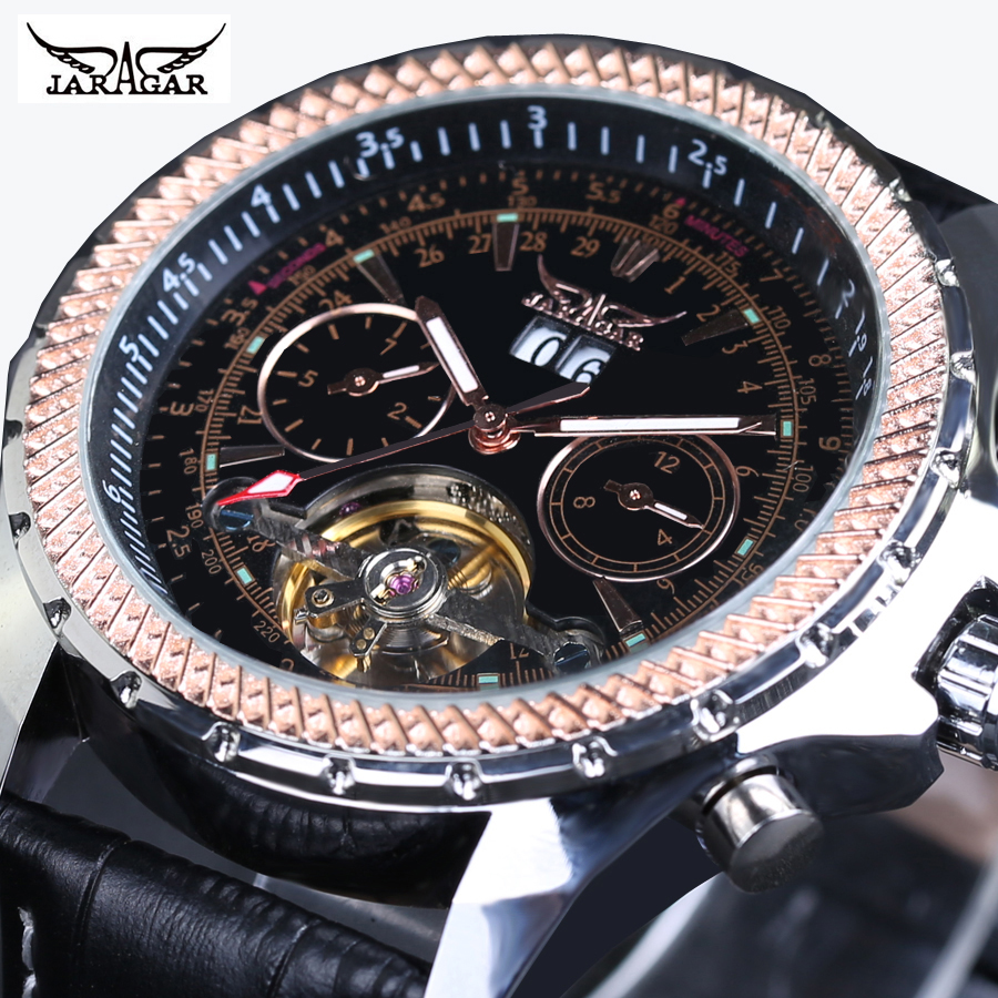 JARAGAR Men Rose Gold Steel Case Leather Strap Skeleton Automatic erkek kol saati Mechanical Watch mens watches top brand luxury<br>