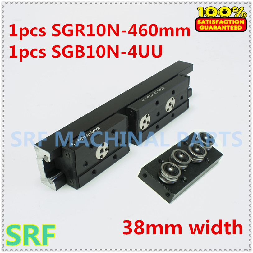 28mm width Rectangle wheel  Linear Guide Rail 1pcs SGR10N Length=460mm with 1pc SGB10N-4UU four wheel slide block for CNC parts<br>