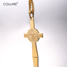 Collare Cross Pendant Men Stainless Steel Gold Color Medalla de San Benito Necklace Women Saint Benedict Medal Jewelry P084(China)
