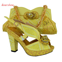Newest arrival African fashion shoes and matching bags set,plenty stones and yellow color Italy shoes and bags doershow!HVB1-22(China)
