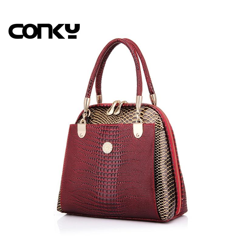 New fashion womens shell bag high quality designer embossed handbag crocodile pattern pu leather tote bag ladies handbags<br>