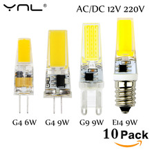 10PCS/Lot Lampada LED G4 Lamp 3W 6W 9W AC/DC 12V 220V COB E14 LED Bulb G9 Lighting Lights replace Halogen Spotlight Chandelier