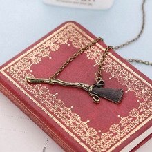 Fashion Harry Potter Deathly Hallows Bang Magic Brooms Pendant Necklace Retro Zinc Alloy Plating Long Link Chain Necklace MN735