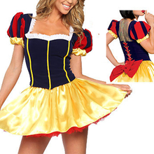 VASHEJIANG Adult Fairy Tale Snow White Costume Women Adult Halloween Snow White Role Playing Stage costumes(China)