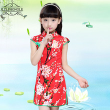 New Arrival Chinese Style Cheongsam Girls Dress Children Ethnic Elements Floral Print Tang Dress Girls Kids Performance Costume