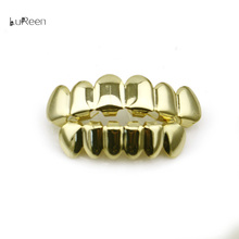 LuReen Hip Hop Gold Teeth Grills Top&Bottom Teeth Grills Dental Vampire Teeth Caps Mouth Halloween Party Body Jewelry LD0010(China)