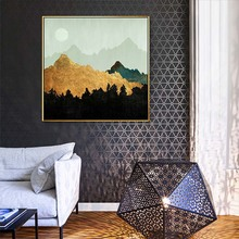 HAOCHU modern abstract small fresh living room decoration painting forest moon star model room bedroom hotel murals home decor(China)
