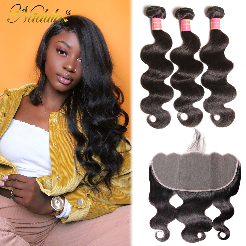 Nadula Hair Brazilian Body Wave 13x6 Lace Frontal With Bundles 3 Bundles With Frontal Human Hair Weave Remy Hair Frontal Closure