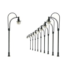 10pcs Model Railway Lamppost Lamps Street Lights HO Scale 8cm 12V New L505 street led light model outdoor lamp(China)