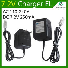 7.2 V AA NiCd and NiMH battery charger  7.2V 250mA battery charger For RC toy car EL plug AC 110-240V DC 7.2V 250mA