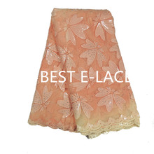 Peach nigerian wedding african lace  bridal orange embroidered tulle lace fabric aso ebi purple net lace fabric 1612b0625d25