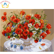 HOME BEAUTY oil paint painting by numbers diy picture drawing coloring on canvas oil painting by hand wall paint flowers J002