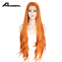 Anogol Long Wave Synthetic Orange Lace Front Wig Glueless High Temperature Heat Resistant Fiber Natural Hair Wigs For Women(China)