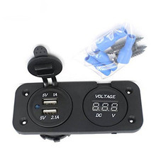 Charger DC 12V LED Dual Car 2 USB Port Charger With Voltmeter Digital Cigarette Lighter Socket Splitter for Auto/Motorbike/Boat(China)