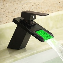Temperature Controll Led Glass Waterfall Basin Mixer Black Wash Water Faucet Taps Color Change By the Water Temperature Dona4072(China)