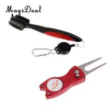 MagiDeal Double Sides Golf Club Brush Groove Cleaner with Retractable Cord + Foldable Golf Divot Repair Tool(China)