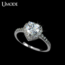 UMODE White Gold Color Heart Shaped Cubic Zirconia with micro CZs Cluster Setting Engagement Ring UR0008B