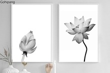 Zen Buddhism Lotus minimalist Nordic IKEA style black and white combo wall painting art home decoration