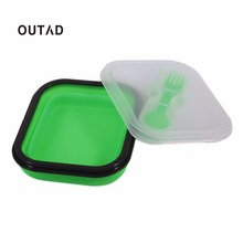 OUTAD  Foldable XF9112-L1 Safety Silicone Lunch Children Kid Picnic Food Container Storage Boxes Portable Lunchbox Dinnerware