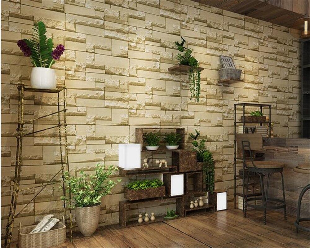 beibehang 3d imitation brick bricks non - woven wall paper 3d wallpaper coffee shop retro papel de parede papier peint behang<br>