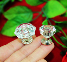 20pcs/lot plastic crystal glass cabinet knobs Acrylic handles furniture accessories jewelry box hardware
