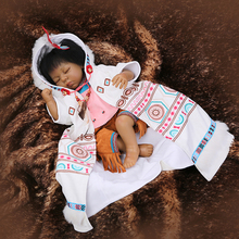 Very Popular Rare Native American Indian Reborn Baby Doll 53CM de Silicone Black Skin Bedtime Girl Real Touch Soft Cotton Body