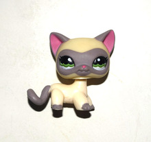 Pet Shop Animal Cream Grey Short Hair Cat Kitty Doll Figure Child Toy